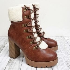 New Tan Furry Combat Chunky Heel Ankle Boots